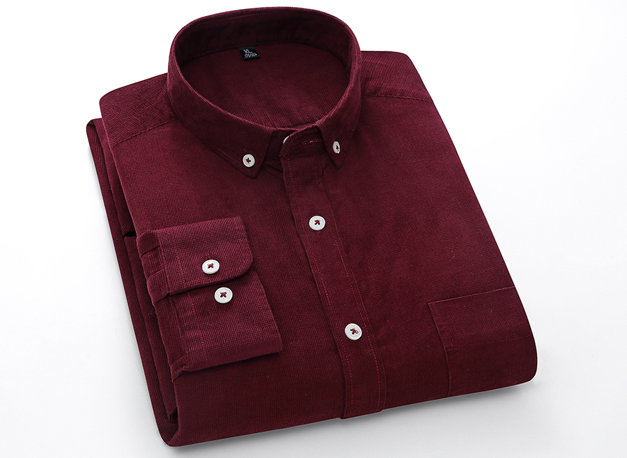 H767dd18064da40278b3a69bf9774bdfa9 Casual Mens Corduroy Shirt Pure Cotton Long Sleeve Brown Thick Winter XXL Regular Fit New Model Male Button Down Shirts