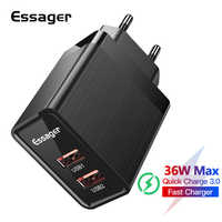 Essager 36w Quick Charge 3.0 USB Charger QC3.0 QC EU Plug Turbo Adapter Travel Wall Fast Phone Charger For Xiaomi iPhone Samsung