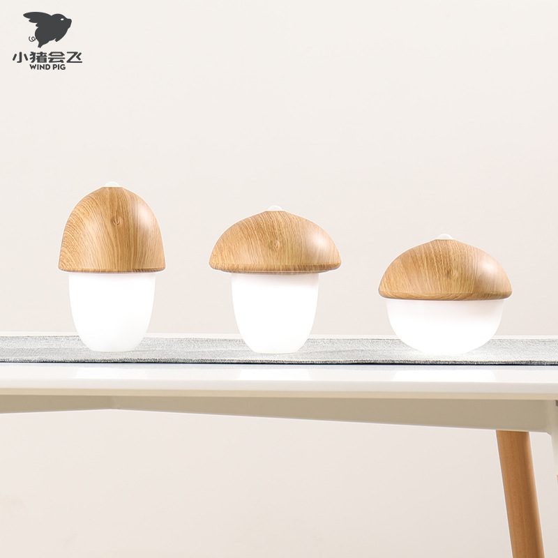GX.Diffuser Wood Grain LED Charging Lamp Original Ecological Mushroom Small Night Lamp Art Small Table Lamp Gift Good Products