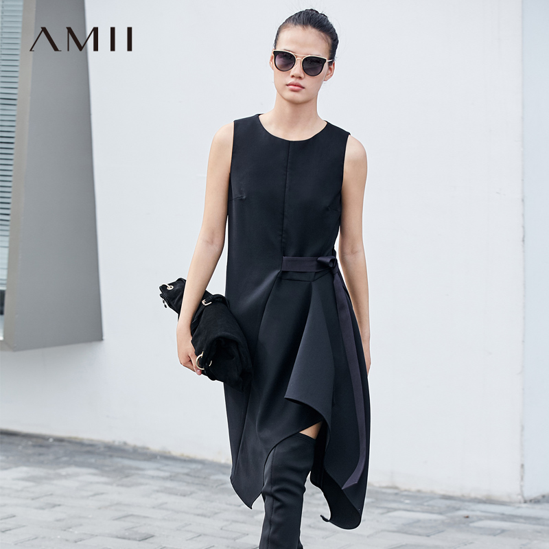 Amii Minimalism Fashion Bow Blet Dress Women High Waist Oneck Sleeveless Slim Dress 11787529