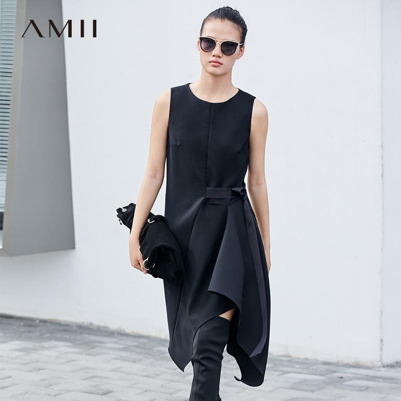 Amii Minimalism Fashion Bow Blet Dress Women High Waist Oneck Sleeveless Slim Dress 11787529