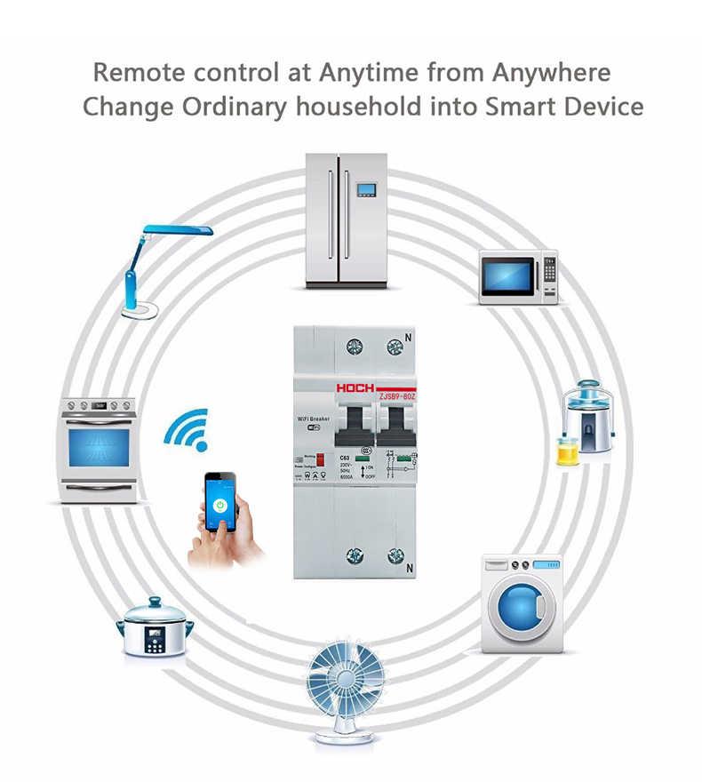 HOCH WIFI disyuntor Control de energía temporizador de fábrica Control remoto 2P Ewelink Tuya app interruptor inteligente inalámbrico