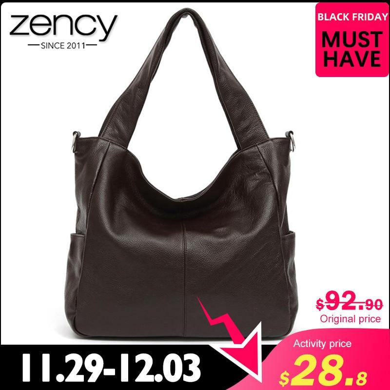 Zency Fashion Women Shoulder Bag 100% Genuine Leather Elegant Lady Messenger High Quality Shopping Bag Tote Hobos Black Coffee