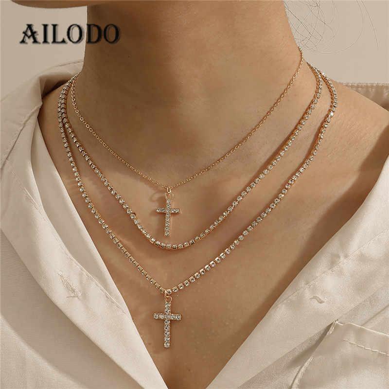 Ailodo lüks kristal çapraz Chokers kolye kadınlar için altın gümüş renk parti düğün bildirimi kolye moda takı 20MAR43