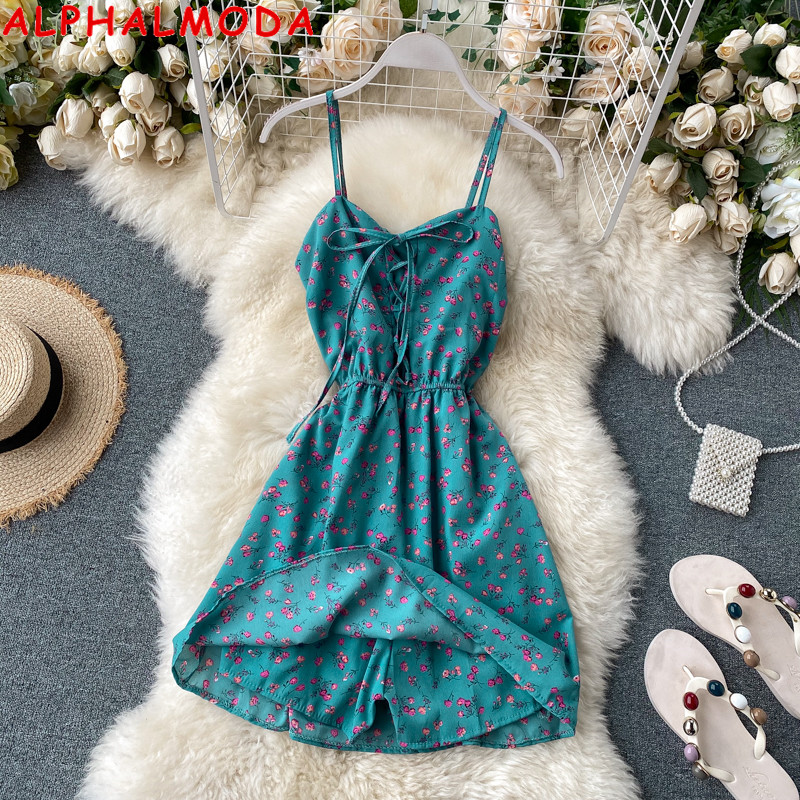 ALPHALMODA New Floral Playsuit Summer 2020 New Style Lace-up Holiday Style Suspender Jumpsuit Fashion Chiffon Resort Playsuit