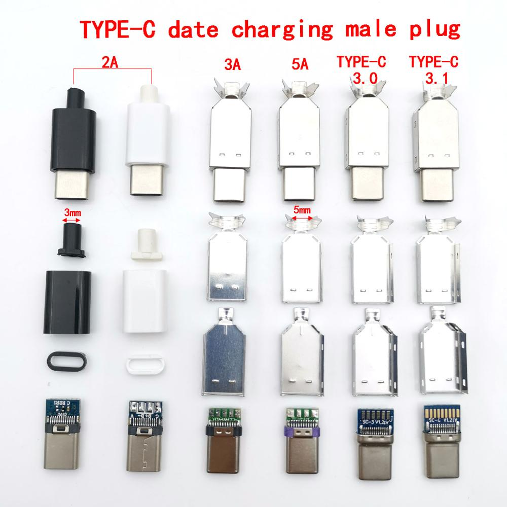 2sets USB 3.1 Type C 2.0 Male Jack Charging Plug Welding Type USB-C Adapter 3/4 In 1 2A/3A/5A Large Current Connector With Case