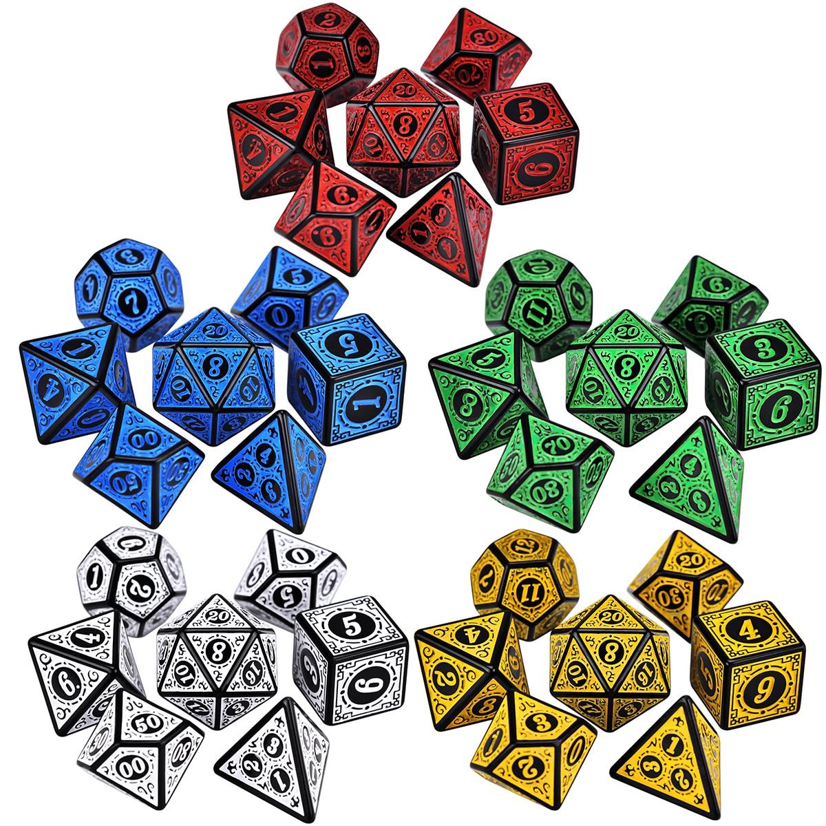 Polyhedral 7-Die Carved Pattern Dice Set of D4 D6 D8 D10 D% D12 D20 for RPG DND