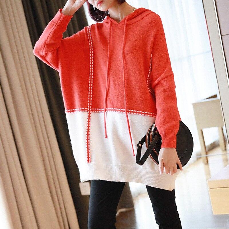 Женский Длинный свитер с капюшоном, вязаный свитер с длинными рукавами, Свободный пуловер, новинка 2019
