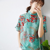 New silk Chinese style cheongsam top factory straight out crepe de Chine silk disc button printed silk shirt