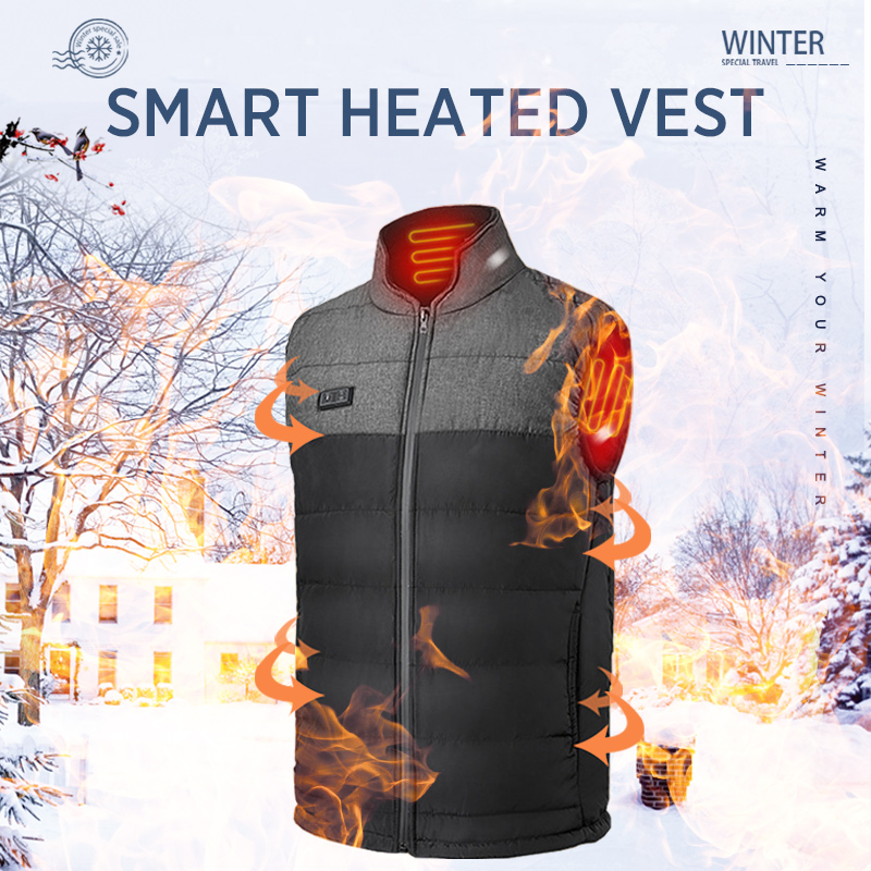 Men winter outdoor Heated Vest USB heating waistcoat male battery Heated Jacket thermal camping hiking clothing