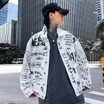Plus Size Harajuku Original Full Print Letter Jeans Jacket Hip Hop Jaqueta Masculino Denim Jacket Chaqueta Hombre White Jacket