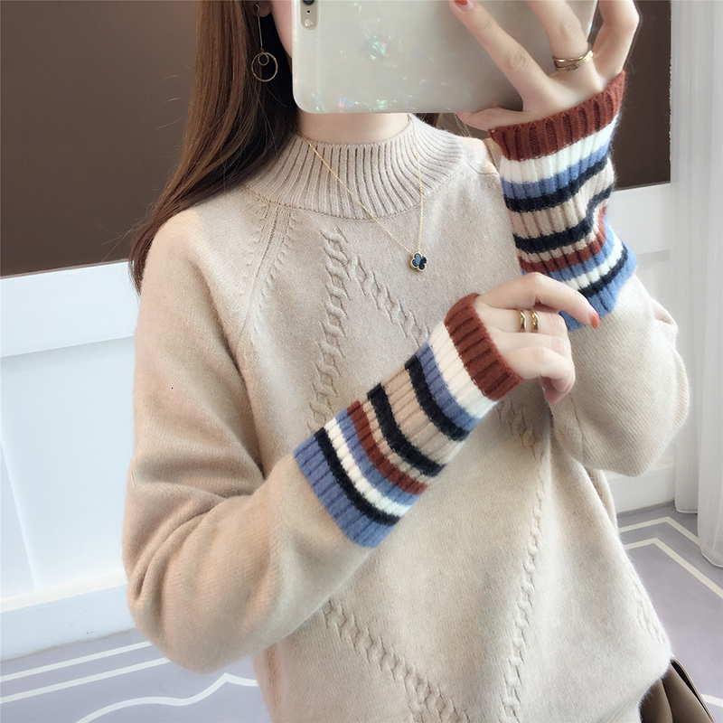 Small And Fresh Sweaters Women's New Coloured Sleeve Half-high Collar Show Slender And Lazy Wind Knitted Sweaters
