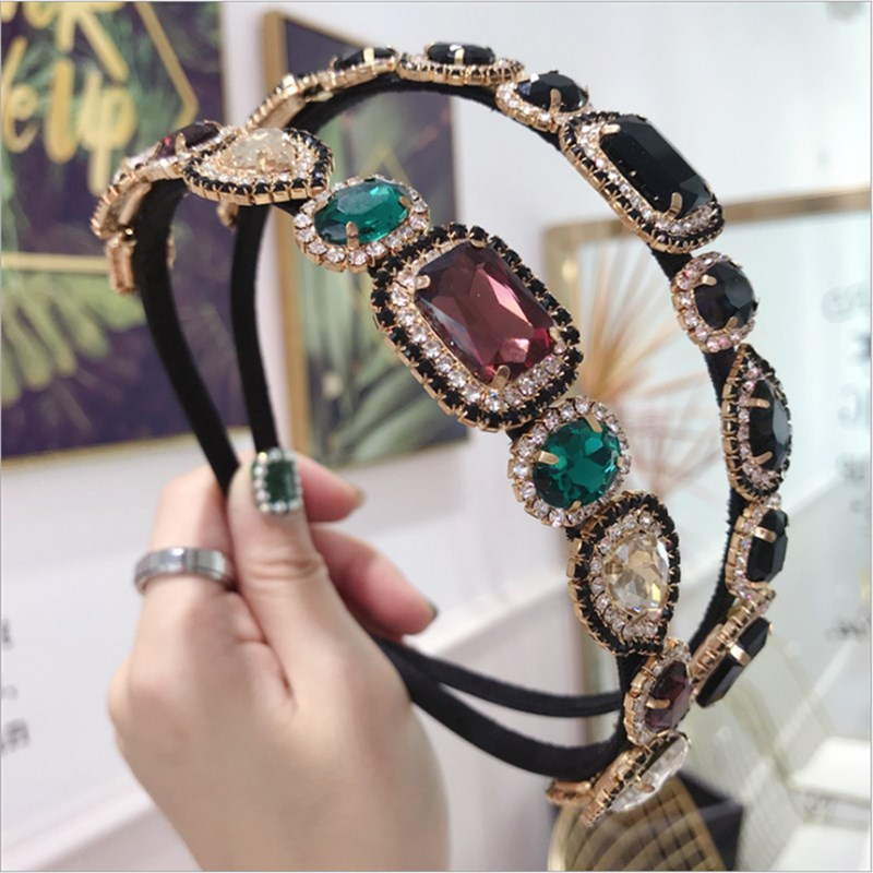 New High-end Hair Accessories Women's Rhinestones Super Flash Alloy Diamonds Fine Side Hairband Headband Fashion Girl Hair Band