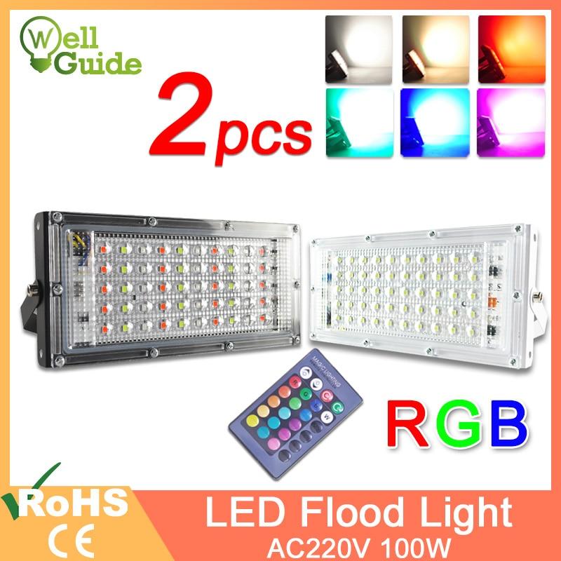 LED Flood Light 50W 100W RGB Led Floodlight Remote Control COB Chip LED Street Lamp AC220V 240V Waterproof IP65 Outdoor Lighting