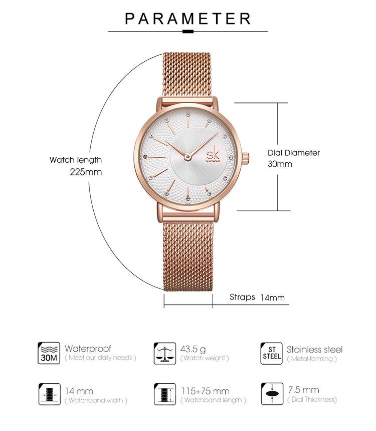 rosegouro quartzo senhoras relógios relogio feminino malha banda pulseiras reloj mujer