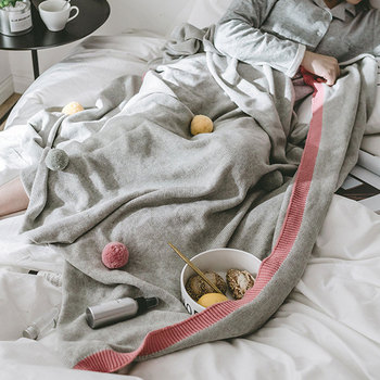 Nordic Cotton Knitted Blanket Colored Wool Ball Decoration Air-conditioned Sofa Line Blanket Solid Color Gray Skin-friendly Soft