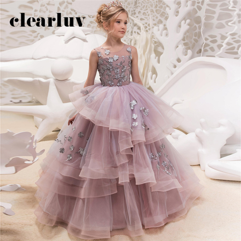 Flower Girl Dresses B055 2020 O-Neck Sleeveless Tulle First Communion Dresses For Girls Appliques Flowers Girls Princess Dresses