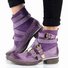 Puimentiua 2019 Ankle Boots Ladies Fashion Women Purple Short Ankle Boots Genuine Leather Blue Winter Strapped Boot Shoes(China)