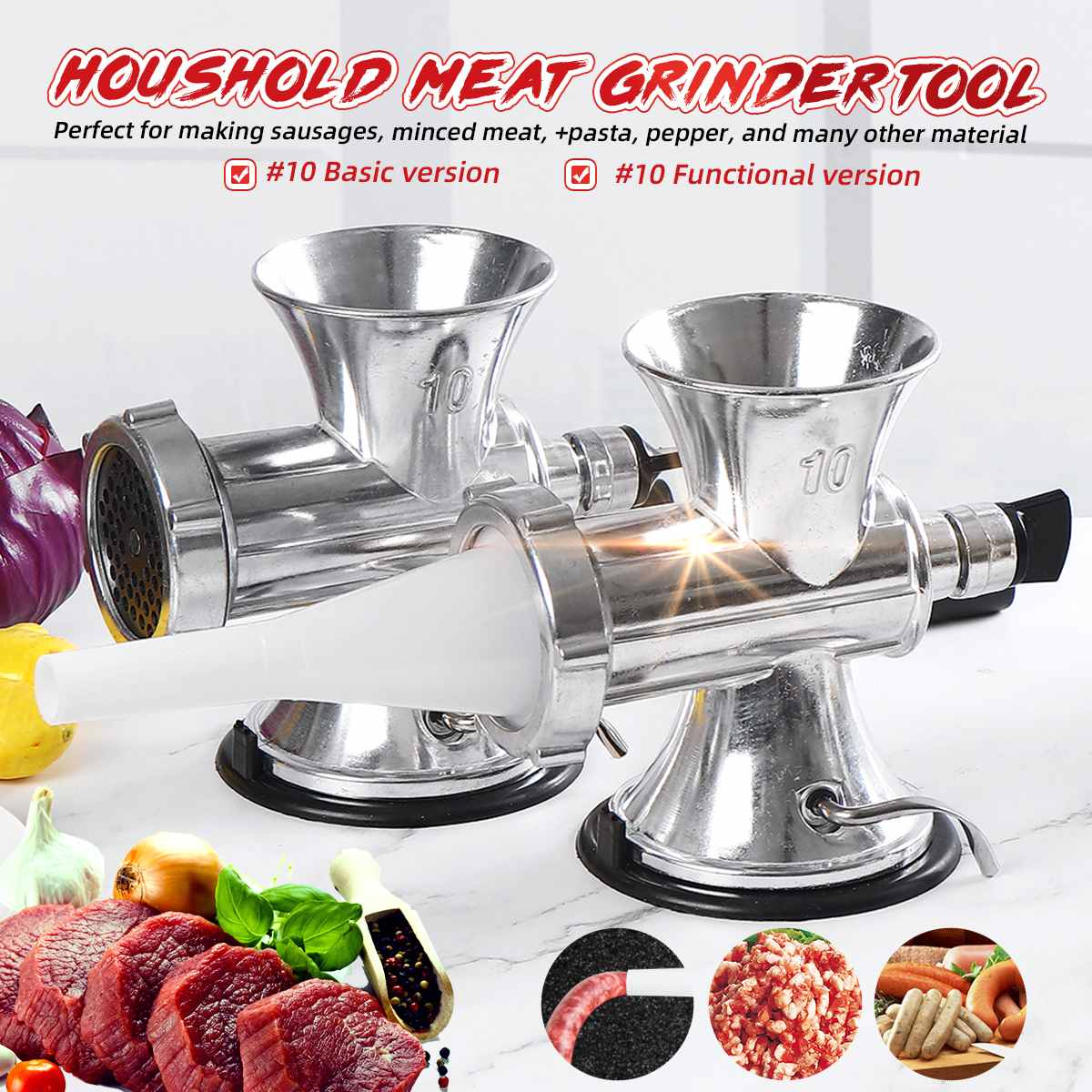 Household Hand Manual Meat Grinder Mincer Pasta Sausage Maker Machine Cooking Tools Kitchen Manual Food Processor Chopper Gadget