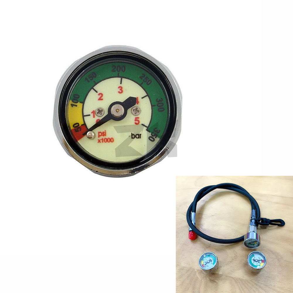 Scuba Diving Pony Bottle Pressure Gauge 1 Inch Face 350 BAR/5000 PSI 7/16