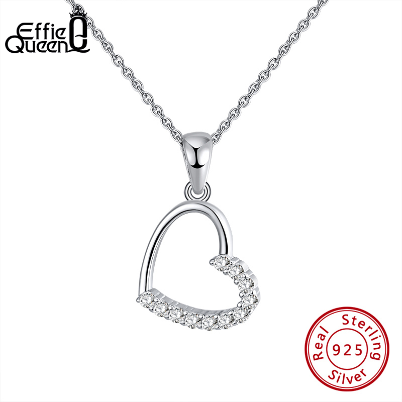 Effie Queen Silver 925 Romantic Love Pendant Necklaces with Big Hollow Heart Shape AAAA Zircon Jewelry Woman Party Gift BN222(China)