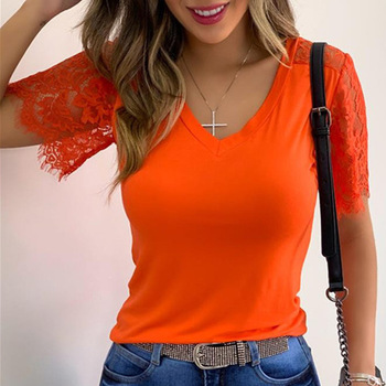 2020 Summer sales Of V-neck rayon sleeves plain color short-sleeved T-shirts for women