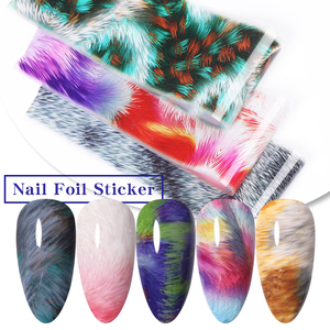 10Pcs/Bag Fur Texture Foils Nails Colorful Transfer Stickers Nail Art Decoration Stickers for Nails Slider Decor Stickers Tips