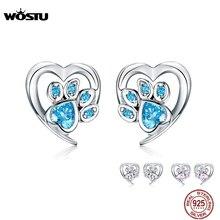 WOSTU Dog Paw Footprint Heart Earrings 100% 925 Sterling Silver Blue Zircon Earrings For Women Wedding Luxury Jewelry CQE654