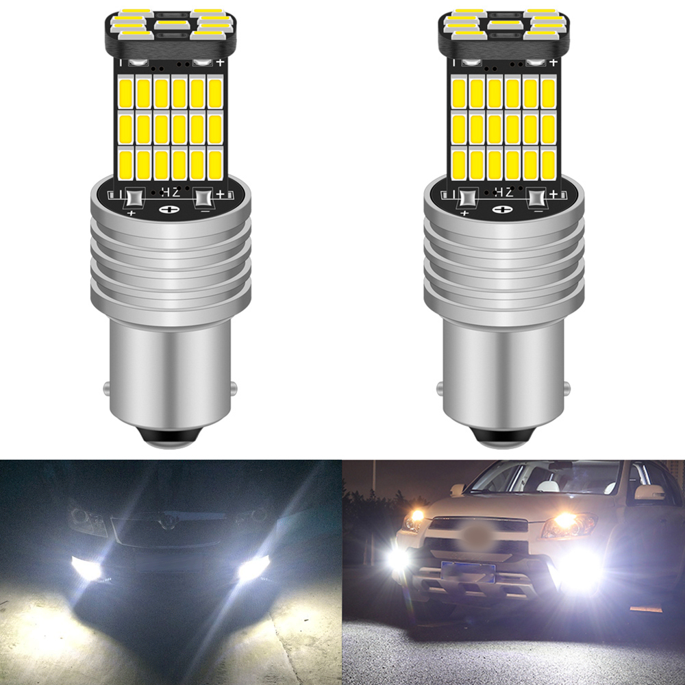 2pcs Canbus <font><b>No</b></font> <font><b>Error</b></font> 1156 <font><b>P21W</b></font> BA15S <font><b>LED</b></font> Daytime Running Light Bulb Lamp For Skoda Superb Octavia 2 FL 2011 2012 2013 White 12V image