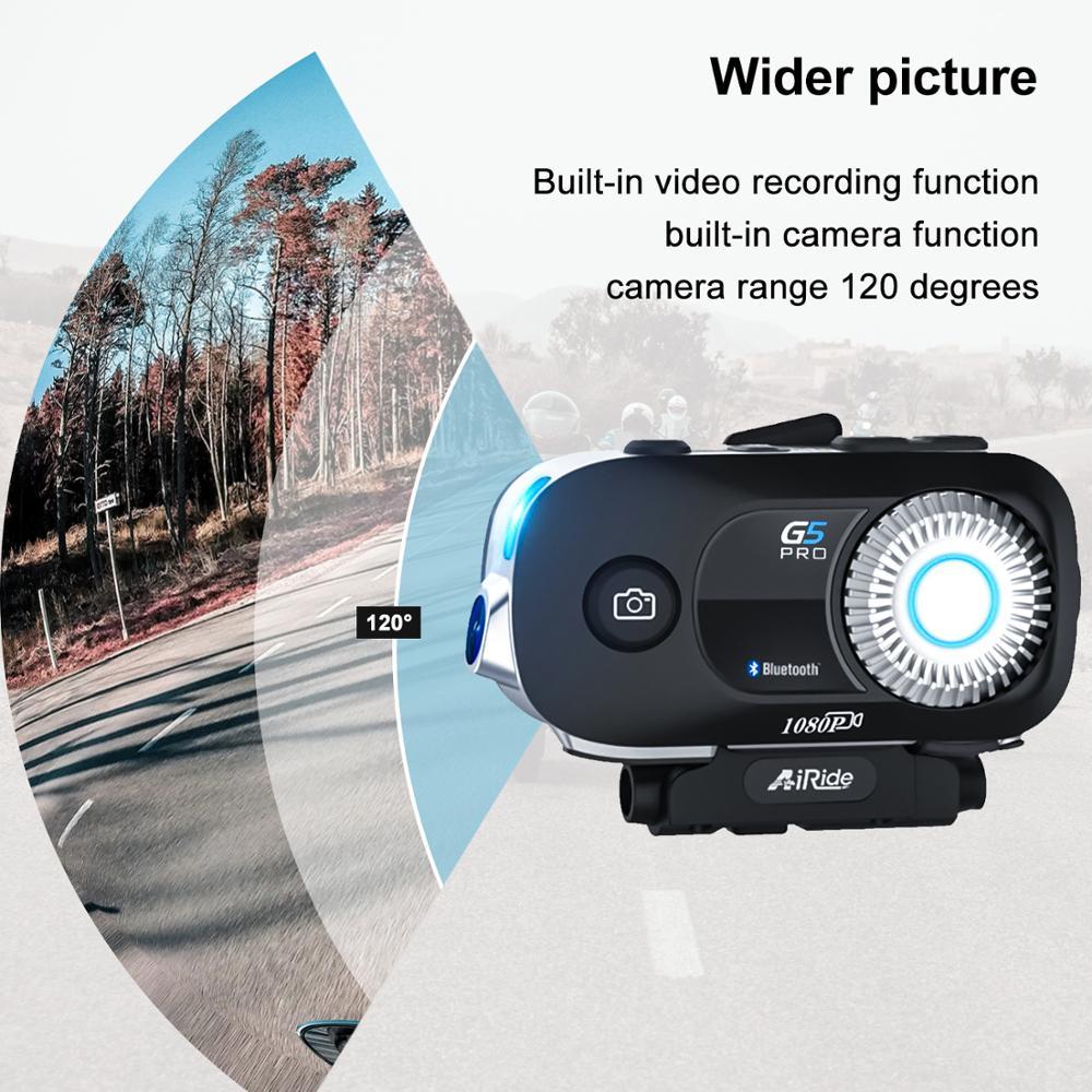 G5 Pro Motorcycle Helmet Intercom 1080P Video Wifi Recorder Camera Moto Helmet Headset Bluetooth Group BT Interphone
