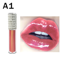 10pcs/lot Lip Gloss No Logo Wholesale Diamond Tube Lipgloss Private Label Cosmetics Clear Shiny Glitter Custom Liquid Lipstick