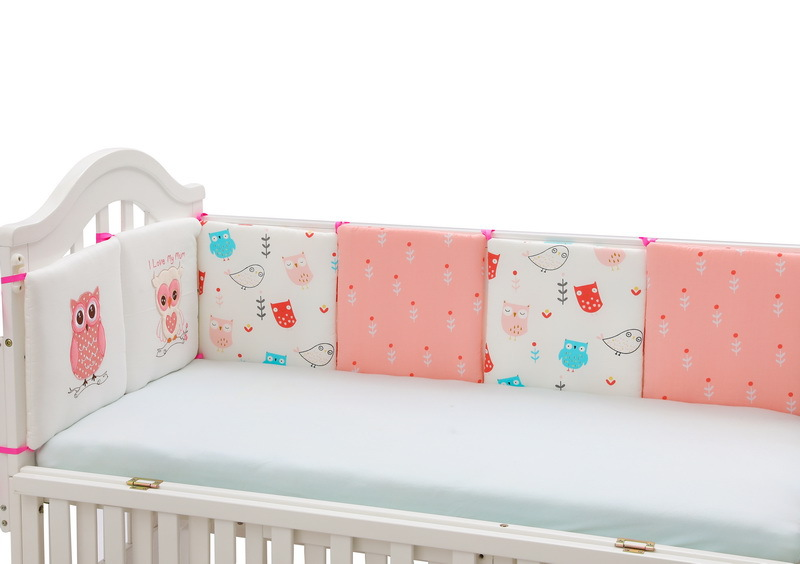 6pcs 30*30cm Owl Cute Cartoon Print Girls Boys Baby Bedding Set 100%Cotton Crib Cot Bumper Half Round Bumper