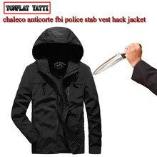 Novo Com Capuz longo-sleeved homens jaqueta militar tático discrição anti-facada de corte leve e flexível de auto-defesa de segurança roupas