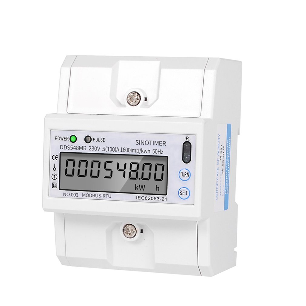 Monophasé multifonctionnel ou 3 phases 4 fils 5-100A 230V AC compteur d'énergie compteur de consommation électrique moniteur Rail DIN