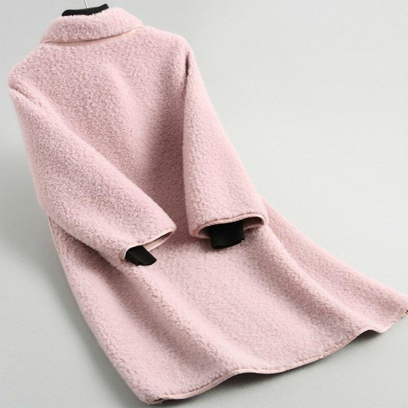 Winter 2020 Autumn Fashion Real Lamb Fur Coat Korean Elegant Casual Natural Genuine Wool Sheep Fur Long Coats Jacket 19007LW398
