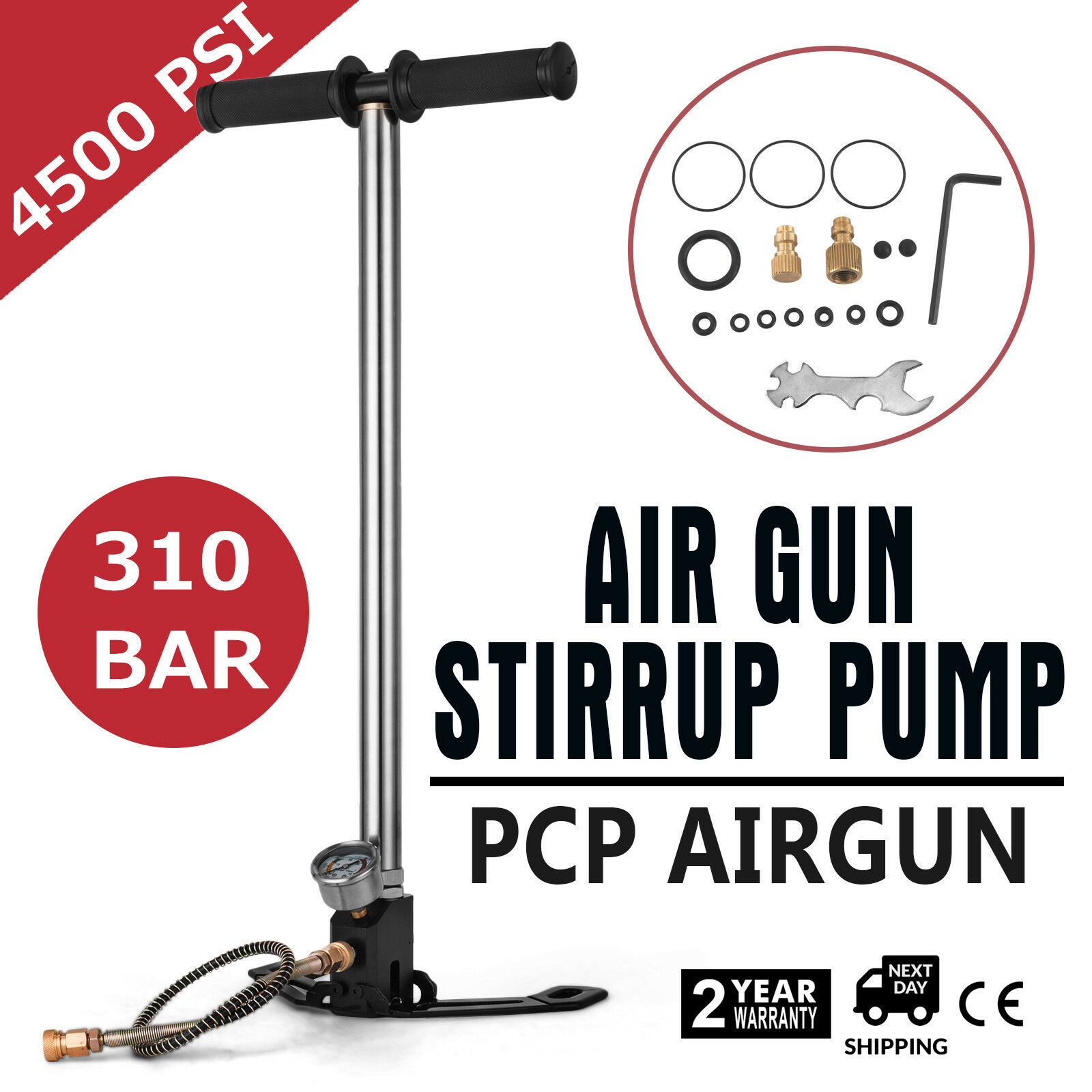 BestEquip Airgun PCP Pump 4500PSI High Pressure Hand Pump 3 Stage Pump Chamber PCP Air Pump|Garment Steamer Parts| |  - title=