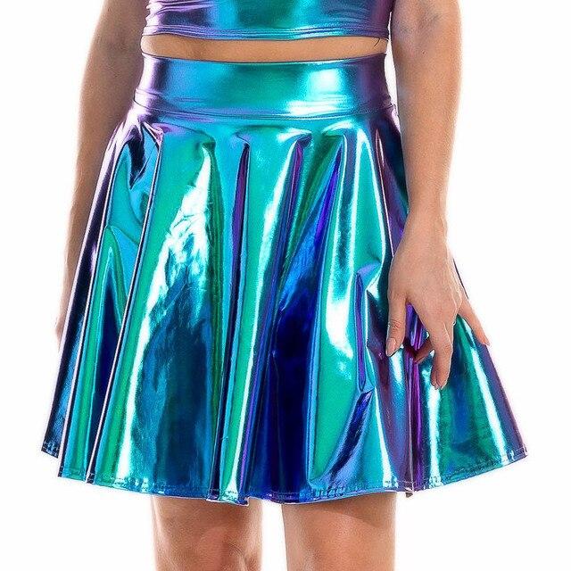 Summer Sexy Laser High Waist Mini PU Leather Skirt Club Party Dance Shiny Holographic Skirts Harajuku JK Metallic Pleated Skirts 2