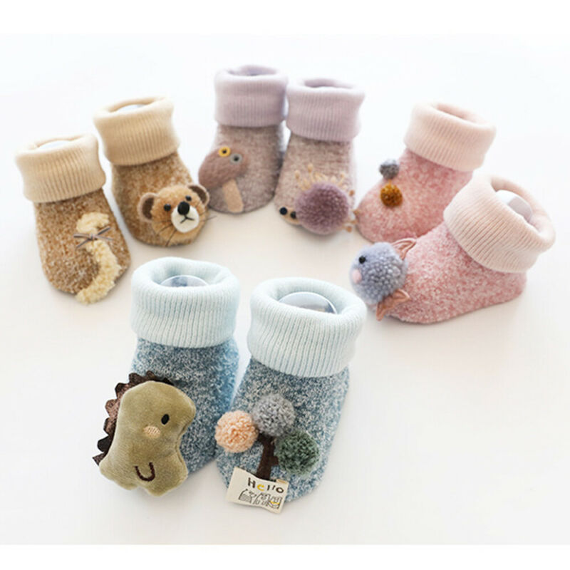 0-3 Years Cute Cartoon Animals Baby Toddler Kid Anti-slip Crawling Socks Shoes Slipper Boots