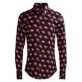 Devil Red Lips Print Men Shirts Classic Long Sleeve Slim Fit Turn down Collar Shirt Europe Fashion Streetwear Clothing 50 100KG