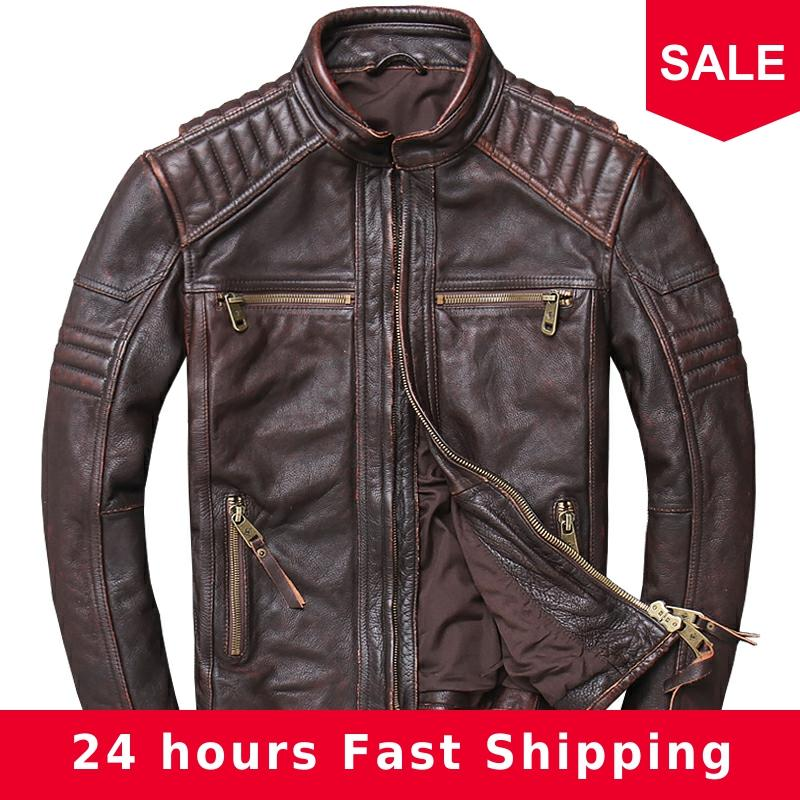 2020 Vintage Brown Men Motorcycle Leather Jacket Plus Size XXXXXL Genuine Cowhide Russian Slim Fit Biker's Leather Coat