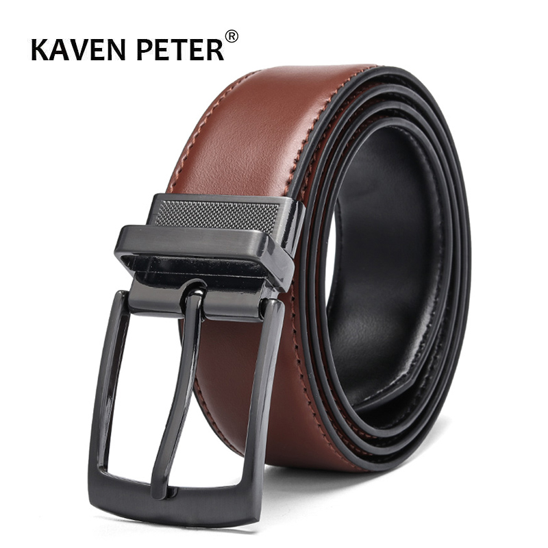 Men's Leather Reversible Belt Brown-Black Classic Designs Rotated Buckle Cowskin Leather Belts Wholesale