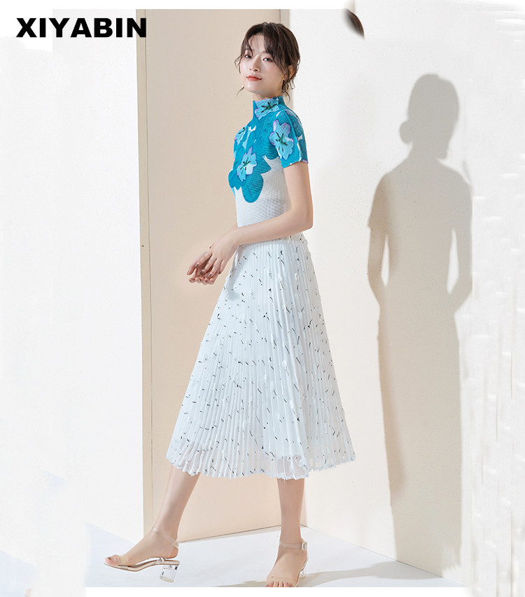 White Skirt Medium length Temperament Spring and summer 2019 New pattern Lace Gauze skirt Half body Chiffon Pleated