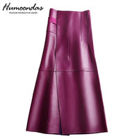 NEW Winter Women Genuine Leather Midi Long Skirt OL Elegant Simple Slim Saia Mujer Purple/Black Sexy Wrap Jupe Street Wear