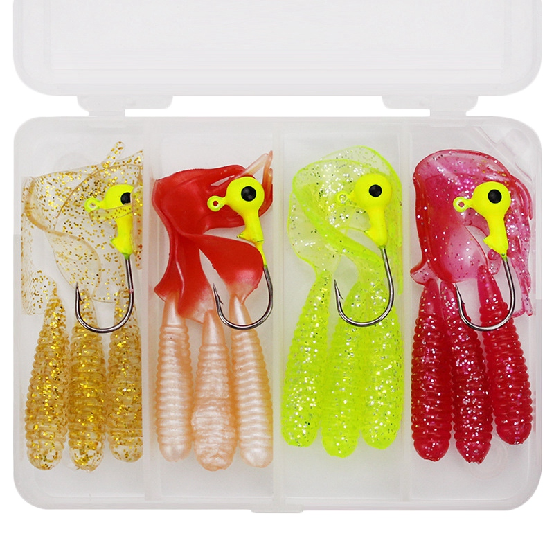 16Pcs/Set Lead Hooks Set + Soft Lures Artificial Worm Shrimp Minnow Baits Lead Jig Head Hooks Sea Fishing Pesca