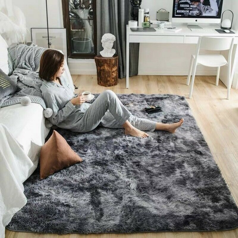 Soft Rectangle Faux Sheepskin Fur Area Rugs For Bedroom Floor Shaggy Silky Plush Carpet Faux Fur Rug Bedside Rugs