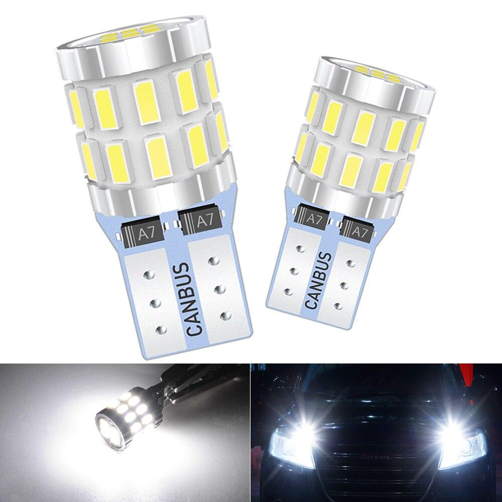 T10 w5w lâmpadas led canbus obc livre de erros led carro estacionamento posição luzes 168 192 w5w interior do carro lâmpada 3014 xenon branco 12v 6000k