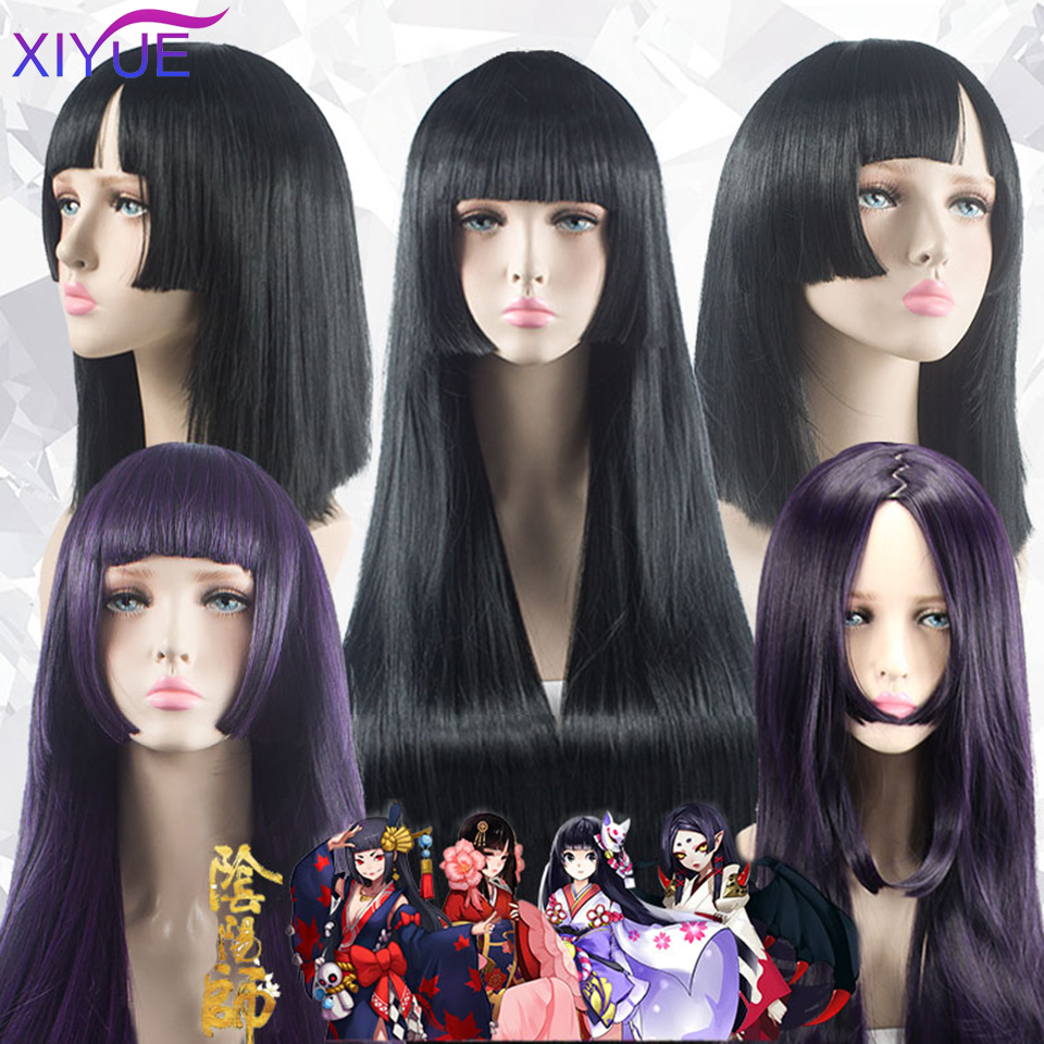 XIYUE Long Straight Cosplay Wig Black Synthetic Hair Wigs for Women Fashion Female Cosplay Party Christmas Wigs Free Gifts
