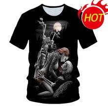 Skull Beauty Rock Cool 3D t shirts Mens Motorcycle Punk 3D Printed T shirt Men Clothes tshirt Summer Top Homme Hipster Pop Shirt