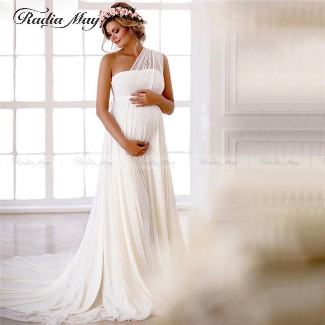 Elegant One Shoulder Off White Chiffon Maternity Wedding Dress For Pregnant Brides Empire Waist Simple Grecian Bridal Gowns Wedding Dresses Aliexpress