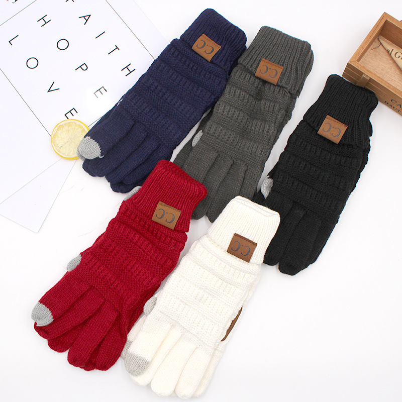 2019 New Winter Mens Winter Five Fingers Wool Knit Gloves Ladies Warm Touch Screen Outdoor Riding Gloves